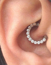 Cute Daith Ear Piercing Ideas Crystal Clicker Earring in Silver - www.MyBodiArt.com