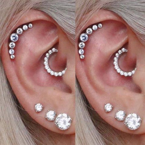 Cute Multiple Ear Piercing Ideas for Women Crystal Daith Ear Clicker Earring - www.MyBodiArt.com