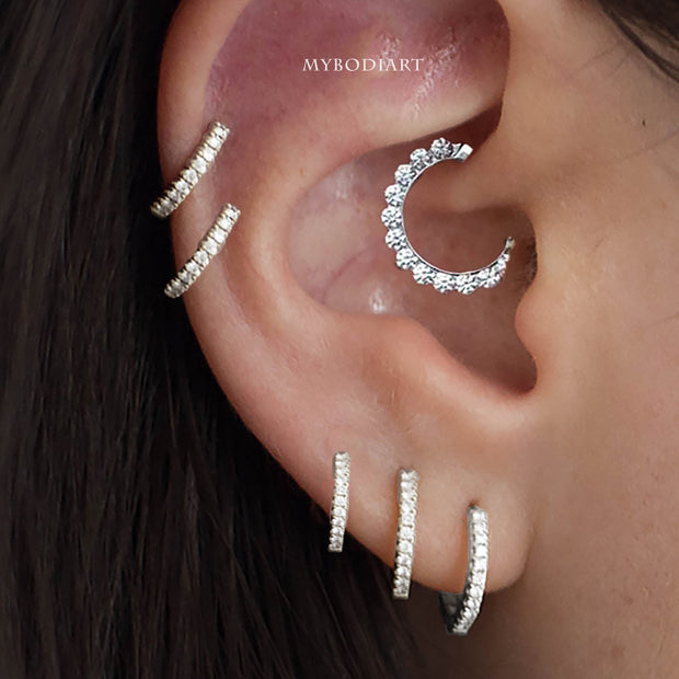 Beautiful Multiple Crystal Daith Clicker Simple Ear Piercing Jewelry Ideas for Women - www.MyBodiArt.com #daith