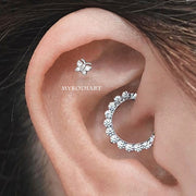 Beautiful Crystal Daith Clicker Simple Ear Piercing Jewelry Ideas for Women - www.MyBodiArt.com #daith