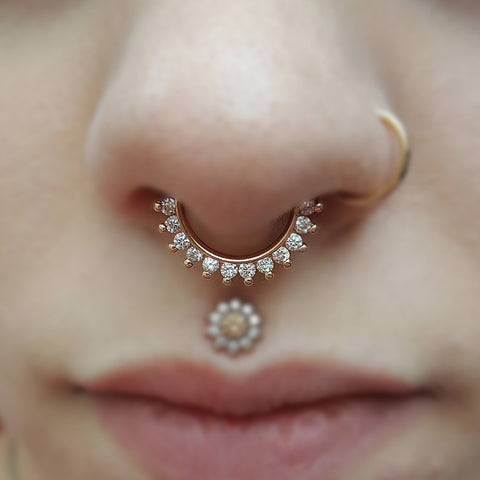 Septum Piercing Jewelry - Crystal Daith Earring - Nose Ring - Medusa Floral Stud - www.MyBodiArt.com