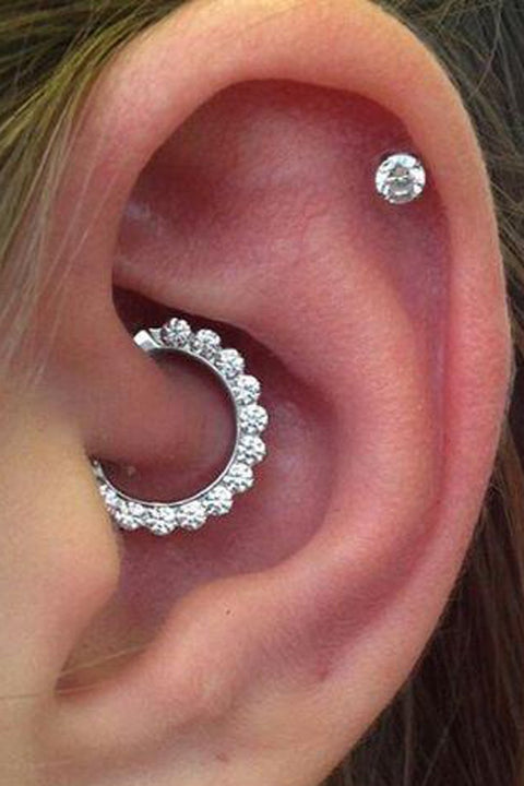 Cute Ear Piercing Ideas for Daith Cartilage Earring Stud Ring Hoop Migraine Pain www.MyBodiArt.com