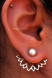 Cute Flower Pearl Ear Jacket Earrings in Silver or Gold Womens Fashion Jewelry - www.MyBodiArt.com