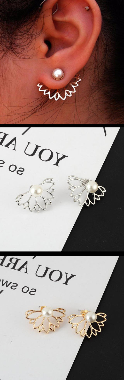 Cute Ear Piercing Ideas Pearl Ear Jacket Earrings Lobe Flower Floral  at MyBodiArt.com