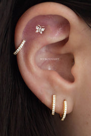 Cute Simple Butterfly Cartilage Helix Ear Piercing Jewelry Ideas for Women for Teen Girls -  piercing de orejas de cartílago de mariposa - www.MyBodiArt.com