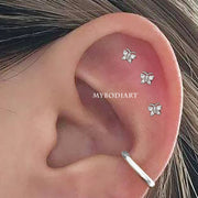 Cute Simple Triple Butterfly Cartilage Helix Ear Piercing Jewelry Ideas for Women for Teen Girls -  piercing de orejas de cartílago de mariposa - www.MyBodiArt.com