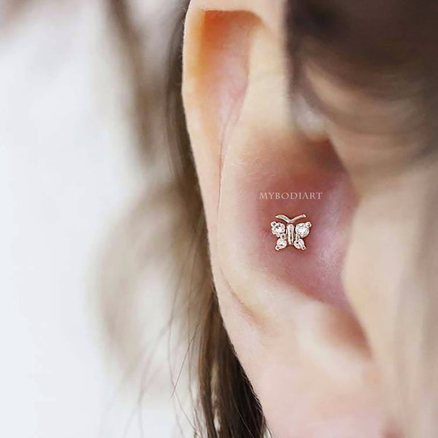 Cute Simple Crystal Butterfly Conch Ear Piercing Jewelry Ideas for Women -  piercing de oreja de mariposa - www.MyBodiArt.com #piercings
