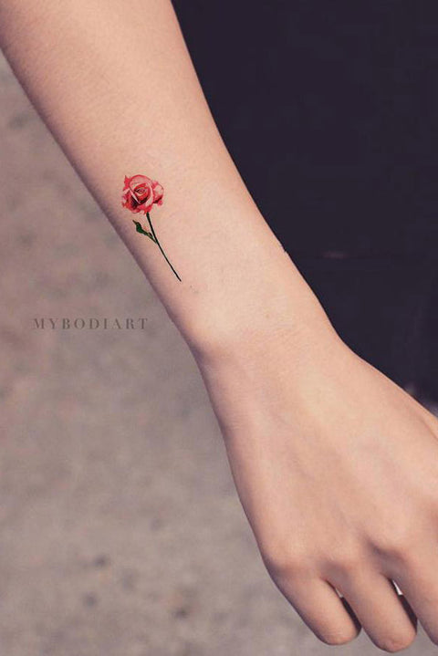 3dd120143 Carolyn Small Watercolor Realistic Single Red & Blue Rose Temporary Tattoo