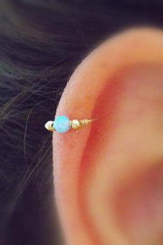 Minimalist Simple Unique Cute Ear Piercing Ideas at MyBodiArt.com - Boho Bohemian Outfits Style Ideas - Opal Tragus, Cartilage, Helix, Rook, Daith, Conch Earrings