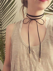 BowKnot Tie Up Black Suede Leather Choker Necklace Outfit Ideas at MyBodiArt.com