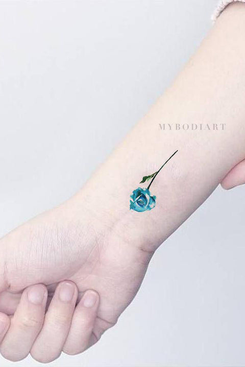 137049ad0 Small Watercolor Single Rose Arm Tattoo Ideas for Women Tiny Cute Blue  Floral Flower Wrist Tat