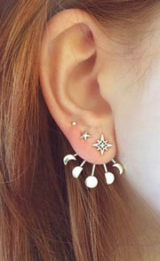 Cute Ear Piercing Ideas - Moon Phases Ear Jacket Earring - Stars Universe Galaxy Crescent - MyBodiArt.com