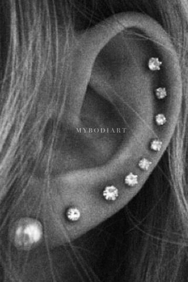 Cute All the Way Around Cartilage Helix Ear Piercing Jewelry Ideas for Women -  lindas ideas de joyería para piercing en la oreja - www.MyBodiArt.com #piercings #earrings