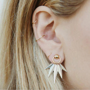 Boho Multiple Ear Piercing Ideas for Women - Ethnic Gold Cartilage Conch Helix Ring Hoop - Tribal Leaf Ear Jacket Earring Set Fashion Jewelry - www.MyBodiArt.com #earrings