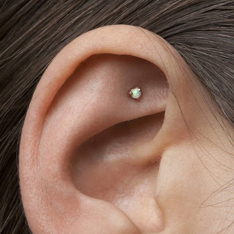 Simple Cute Dainty Opal Cartilage Earring Stud Ear Piercing Ideas Jewelry Fashion for Helix Tragus Conch - www.MyBodiArt.com