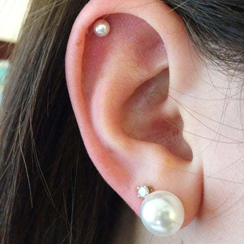 Cute Pearl Cartilage Helix Ear Piercing Ideas for Women - www.MyBodiArt.com