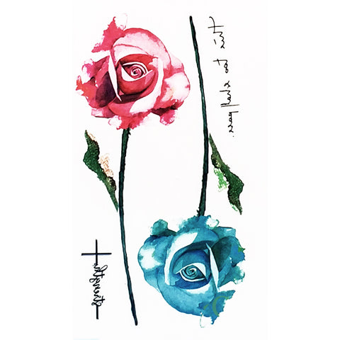 Cute Small Watercolor Red and Blue Single Rose Floral Flower Temporary Tattoo Art Design Ideas Women's Teens - www.MyBodiArt.com #tattoos