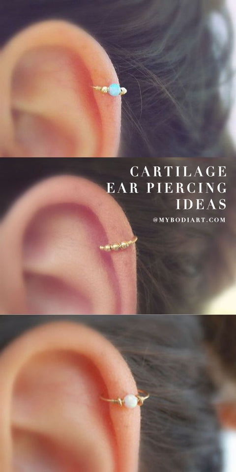 Cute Cartilage Ear Piercing Ideas Simple Beautiful Opal Helix Ring Hoop Earring in Gold -  lindo piercing de cartílago ideas para mujeres - www.MyBodiArt.com
