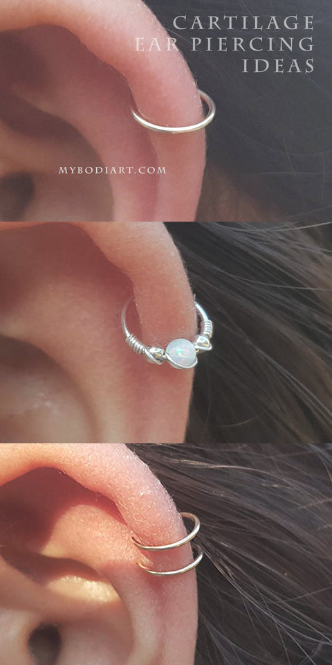 Cute Simple Cartilage Helix Ear Piercing Jewelry Ideas for Women -  ideas simples de joyería piercing en la oreja - www.MyBodiArt.com #cartilage