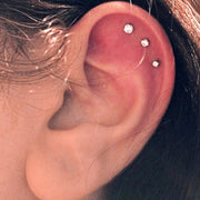 Crystal Triple Cartilage Ear Piercing Jewelry Ideas for Women -  Ideas de perforación de orejas de cartílago lindo para mujeres - www.MyBodiArt.com