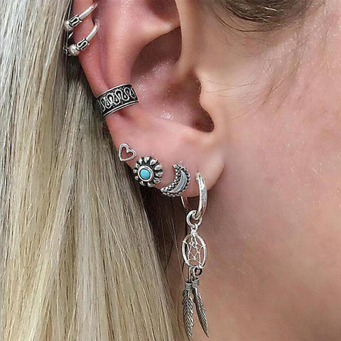 Boho Multiple Ear Piercing Ideas - Cartilage Helix Conch Ring Cuff Hoop - Triple Earring Stud Lobe - at MyBodiArt.com