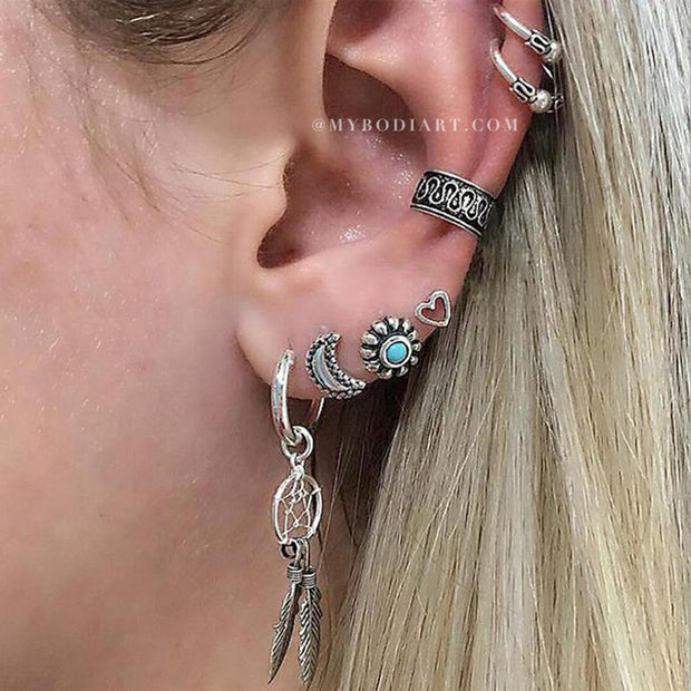 Cute Boho Multiple Cartilage Ear Piercing Ideas Antiqued Silver Turquoise Earring Set -  boho cartílago múltiples orejas piercing ideas para las mujeres - www.MyBodiArt.com