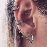 Boho Multiple Ear Piercing Ideas - Ear Lobe Hoop Earrings Conch Cartilage Helix Ear Cuffs - Fashion Statment Jewelry -  bohemia oreja piercing joyas -  www.MyBodiArt.com