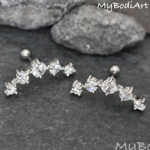 Cute Ear Piercing Ideas - Statement Cartilage Earrings Studs Jewelry - 5 Crystal Studs Barbell - www.MyBodiArt.com