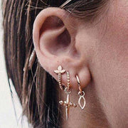 Cute Gold Ear Piercing Ideas Cross Earring Set Fashion Jewelry For Women - www.MyBodiArt.com