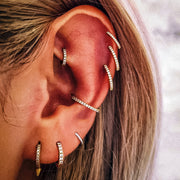 Simple Hoop Ring Multiple Ear Piercing Ideas for Cartilage Rook Conch Lobe - www.MyBodiArt.com