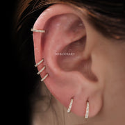 Multiple Hoop Cartilage Helix Ear Piercing Jewelry Ideas for Females Curate Pierced Ears 2020 - www.MyBodiArt.com