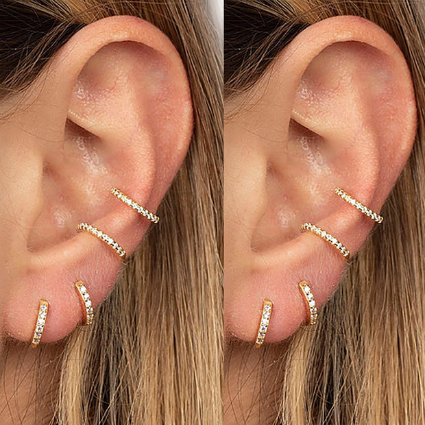 Cute Multiple Ear Piercing Cartilage Helix Ring Hoop 16G Earrings -  ideas de joyería piercing de oreja - www.MyBodiArt.com #earrings #piercings
