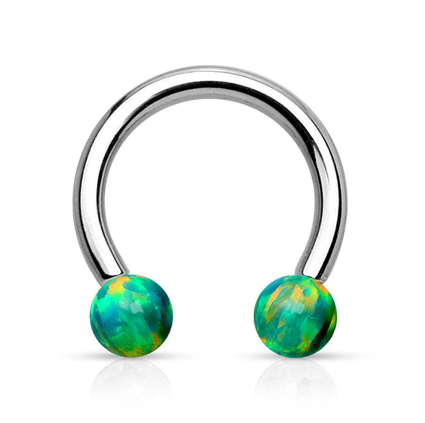Opal Ball Horseshoe Barbell Ear Piercing Septum Jewelry Eyebrow Lip Ring in Opalite, Blue, Greem, Pink 16G Silver- www.MyBodiArt.com