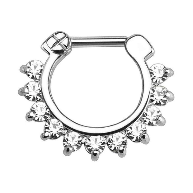 Crystal Septum Piercing Jewelry for Septum Ring, Earring for Daith Clicker at MyBodiArt.com - Silver & Clear Crystals