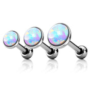 Opalite Ear Piercing Jewelry for Cartialge, Helix, Conch, Forward Helix, Ear Lobe in Silver 16G - www.MyBodiArt.com