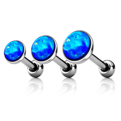 Blue Opal Ear Piercing Jewelry for Cartialge, Helix, Conch, Forward Helix, Ear Lobe in Silver 16G - www.MyBodiArt.com
