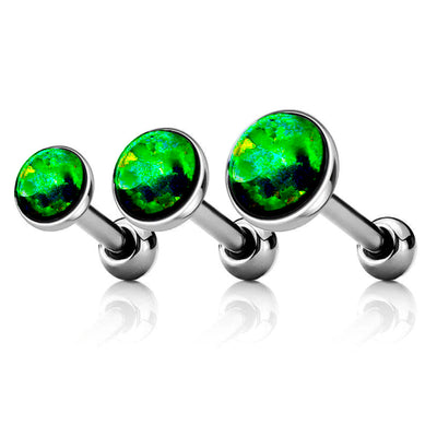Green Opal Ear Piercing Jewelry for Cartialge, Helix, Conch, Forward Helix, Ear Lobe in Silver 16G - www.MyBodiArt.com