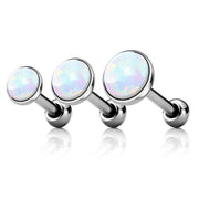 Opal Ear Piercing Stud in Silver 16G for Cartilage, Helix Tragus Earring Stud - www.MyBodiArt.com