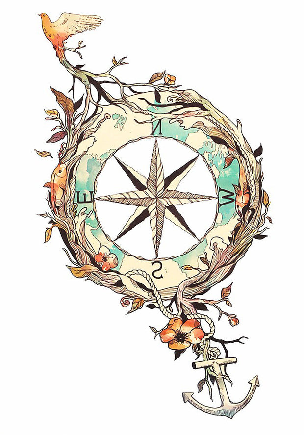 Voyageur Nature Compass Temporary Tattoo at MyBodiArt.com