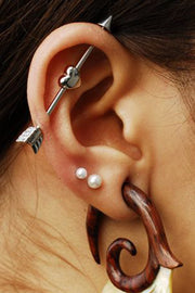 Boho Ear Piercing Ideas - Arrow Heart Industrial Barbell Earring - Double Pearl Lobe Studs - Wooden Ear Gauge Plugs - www.MyBodiArt.com