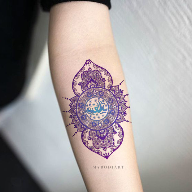Tribal Lotus Mandala Lace Blue Forearm Tattoo Ideas for Women -  Ideas tribales de tatuaje de antebrazo para mujeres - www.MyBodiArt.com