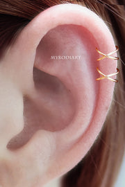 Simple Minimalist Criss Cross Ear Cuff Cartilage Helix Ear Piercing Earring Fashion Jewelry for Women for Teen Girls - www.MyBodiArt.com
