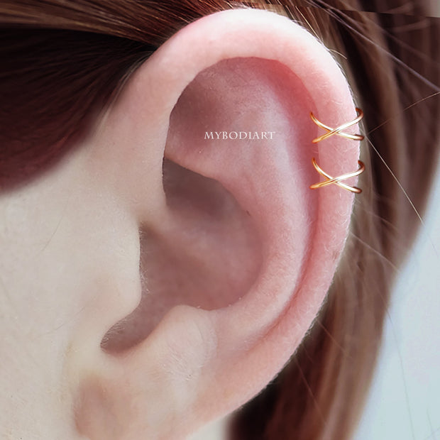 Ari Minimalist Metal Wired Criss Cross Ear Cuff Earring