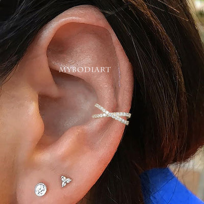 Cute Multiple Ear Piercing Jewelry Ideas Criss Cross X Cuff Conch Earring -  ideas de joyería piercing en la oreja - www.MyBodiArt.com