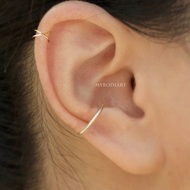 Simple Minimal Criss Cross Ear Cuff Earring Gold Jewelry Cartilage Helix Ear Piercing Jewelry Ideas for Teen Girls for Women - www.MyBodiArt.com