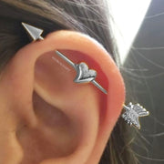 Cute Heart Arrow Industrial Piercing Jewelry Barbell Scaffold Earring in Silver - www.MyBodiArt.com