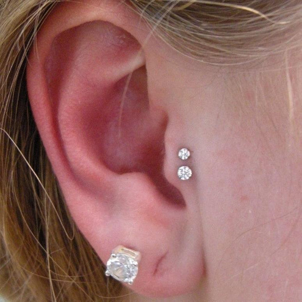 Cute Double Tragus Ear Piercing Jewelry Placement Ideas for Women - www.MyBodiArt.com