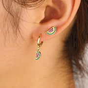 Cute Watermelon Double Lobe Ear Piercing ideas Gold Hoop Huggie Earring Studs - www.MyBodiArt.com