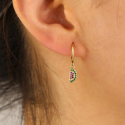 Cute Crystal Watermelon Huggie Hoop Earrings - www.MyBodiArt.com #earrings