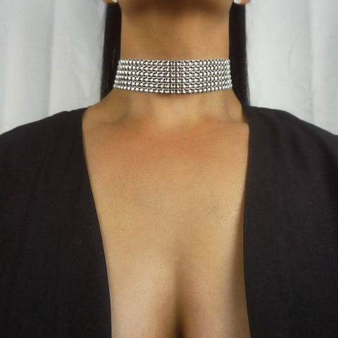 Crystal Rhinestone Choker Necklace - Party Cocktail Simple Black Classy Elegant Evening Outfits Ideas at MyBodiArt.com